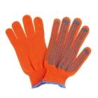 Перчатки акриловые махровые оранжевые с ПВХ 10 класс